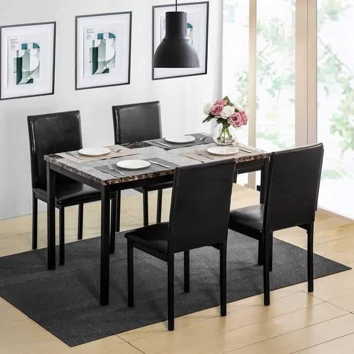 5 Pieces Dining Table Set, Elegant Faux Marble Desk and 4 Upholstered PU Leather Chairs,