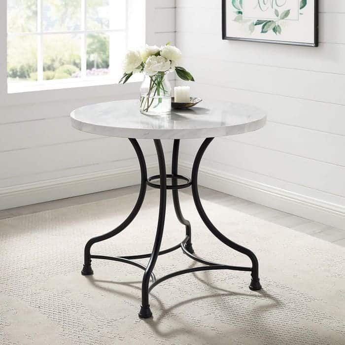 Crosley Furniture Madeleine Round Dining Table, 32 Steel with Faux Marble Top