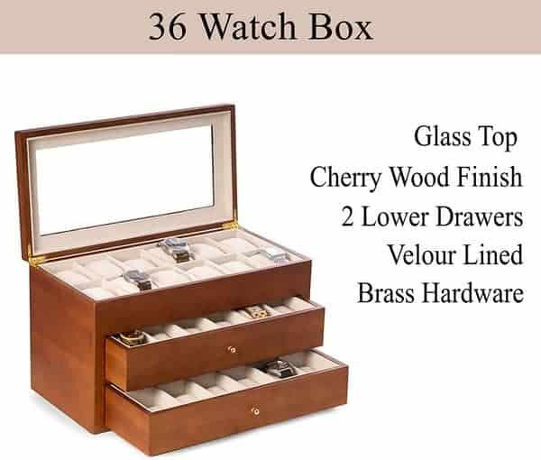 Custom Personalized Bey Berk Watch Box Organizer- 36 Slot Luxury Solid Wood Designer Display