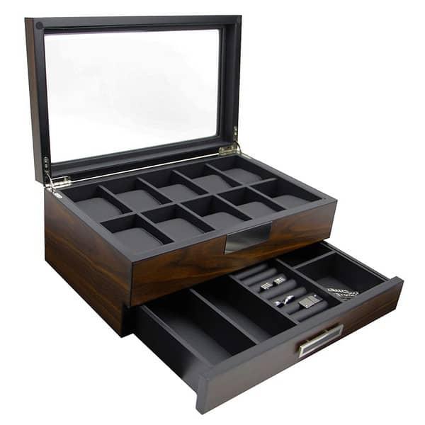 Decorebay Executive Wooden Watch Box Valet Box Sunglasses and Jewelry Box Storage Organizer (Sweetheart)