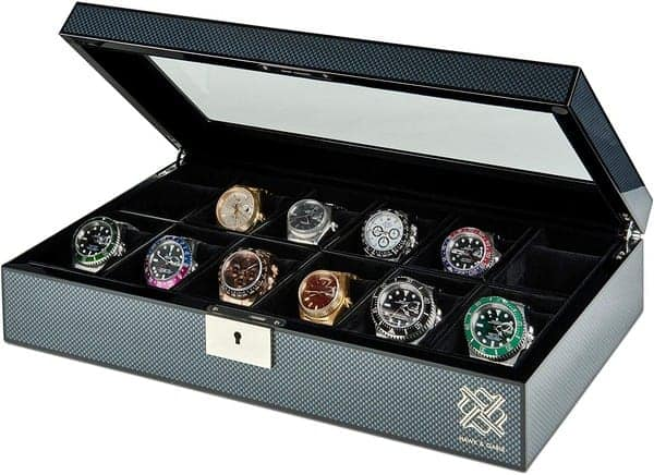 hawke and gable Elegant, 12 Slot Watch Box Organizer with Lock Premium Jewelry & Watch Display Case Storage Cases for Watches