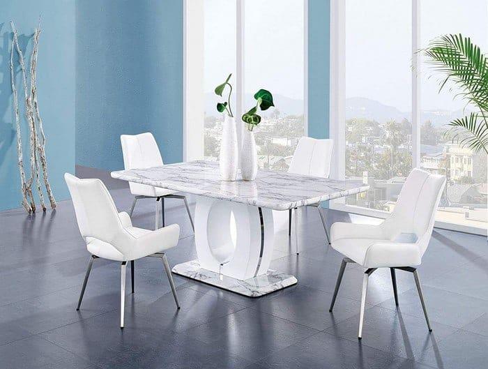 Global Furniture USA Global Furniture Faux Marble Pedestal Base Dining Table, BR