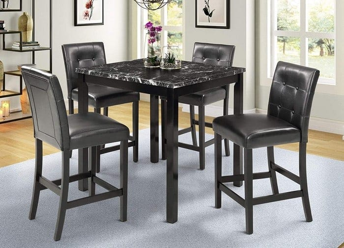 Harper & Bright Designs 5-Piece Kitchen Table Set Faux Marble Top Counter Height Dining Table Set with 4 Black Leather-Upholstered Chairs