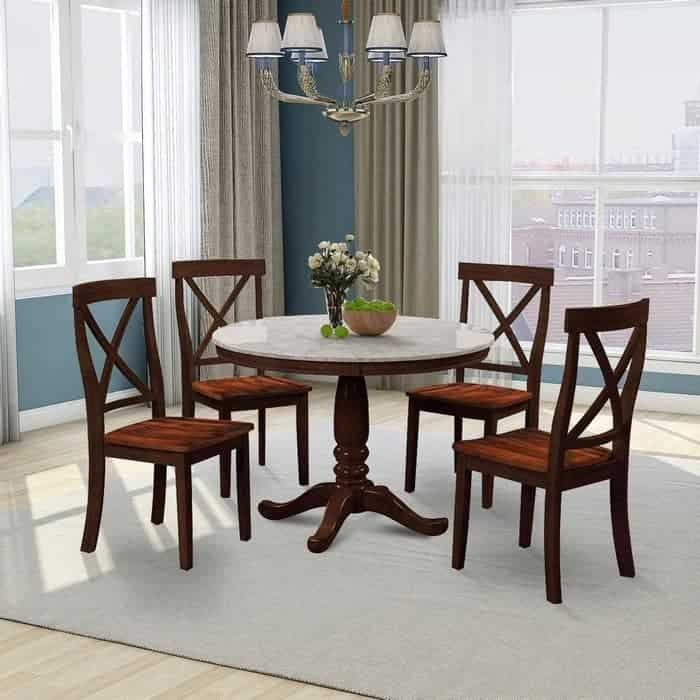 Harper & Bright Designs Dining Table Set - 5 Piece Round Dining Set with 4 Chairs