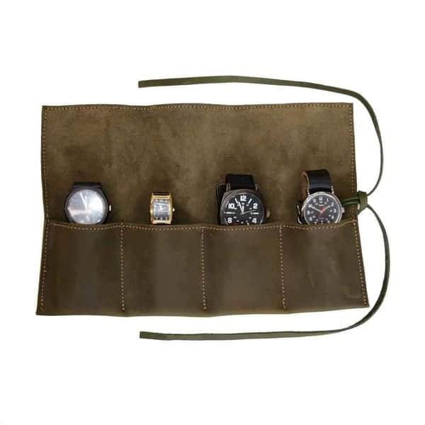 Hide & Drink, Rustic Leather Travel Watch Roll Organizer