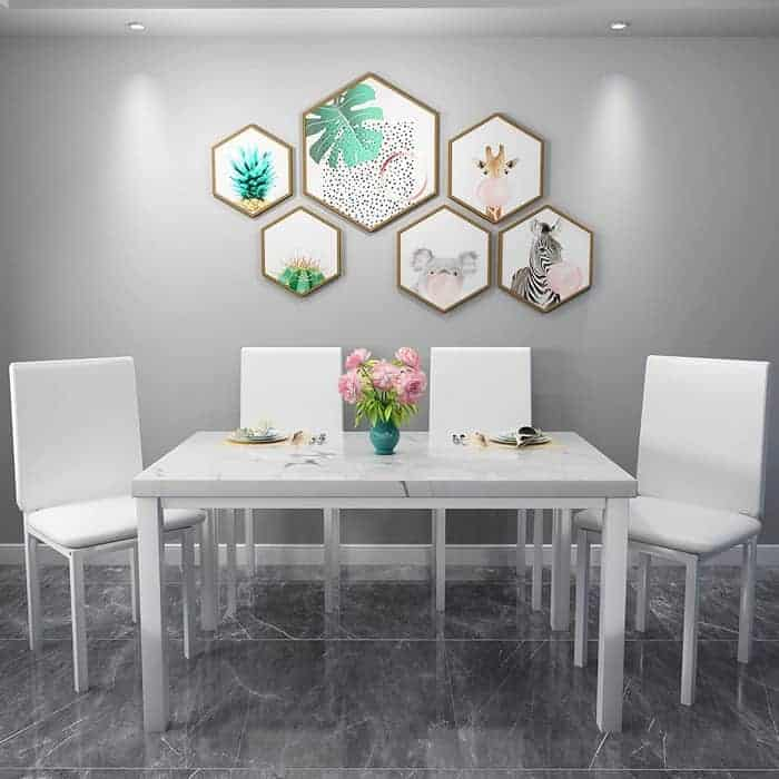 Hooseng Dining Table Set for 4-Faux Marble Table Top,with 4 PU Leather Metal Chairs