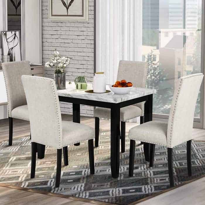 LZ LEISURE ZONE Dining Table Set Kitchen Dining Table Set for 4, Wood Table and Chairs Set