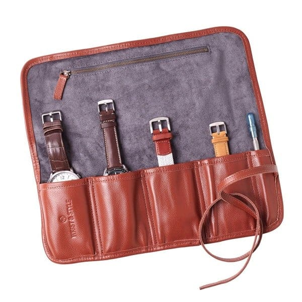 Leather Watch Roll by W&S for Travel and Storage