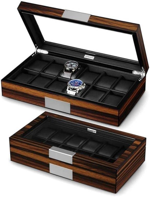 Lifomenz Co 12 Watch Box for Men Watch Display Case Wood Luxury Watch Box with Large Glass Window