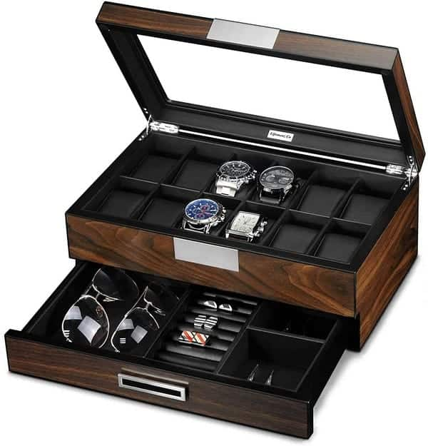 Lifomenz Co Wooden Watch Box for Men Watch Jewelry Box Organizer with Valet Drawer,12 Slot Watch Display