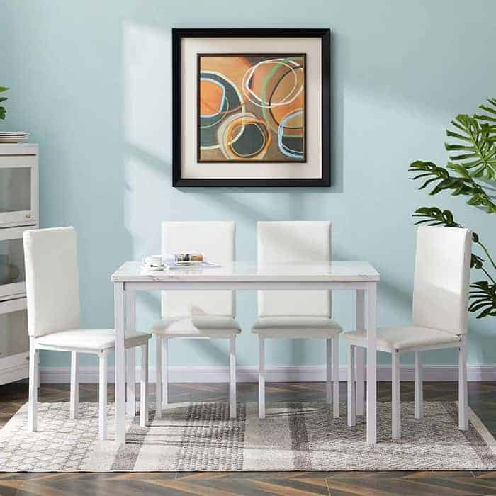 MOOSENG 5 Pieces Dining Set, Faux Marble 4 Upholstered PU Leather Chairs Kitchen Table