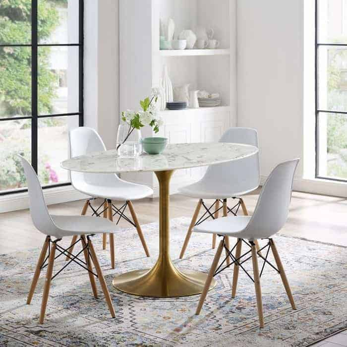 Modway Lippa 54 inches Mid-Century Dining Table with Round Artificial Marble Top in Gold White