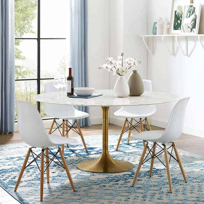 Modway Lippa 60 Oval-Shaped Mid-Century Modern Dining Table with Artificial Marble Top and White Base
