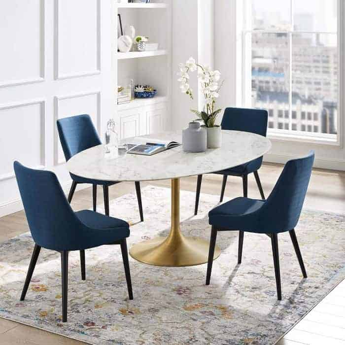 Modway Lippa 78 Oval-Shaped Mid-Century Modern Dining Table with Artificial Marble Top and Gold Base