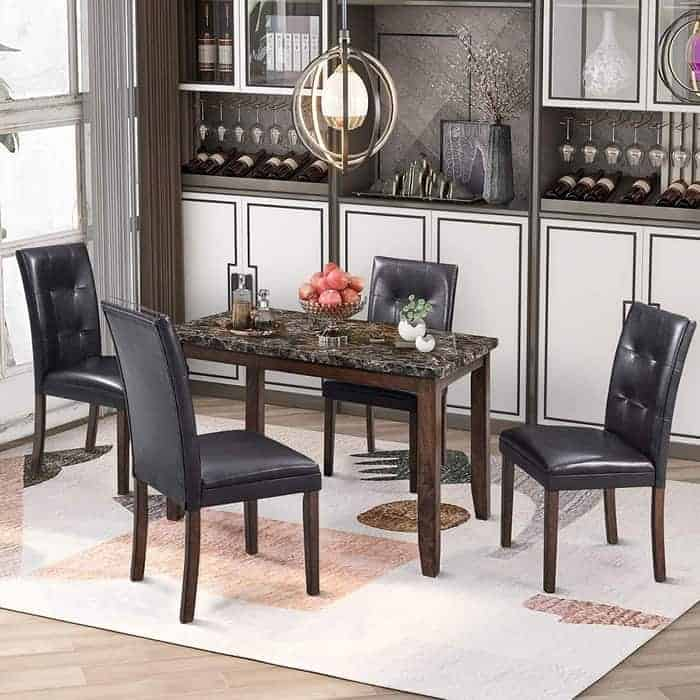 P PURLOVE 5 Piece Dining Table Set Faux Marble Style Dining Room Table and 4 Chairs Marble Stickers