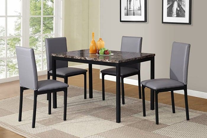 Roundhill Furniture 5 Piece Citico Metal Dinette Set with Laminated Faux Marble Top - Gray