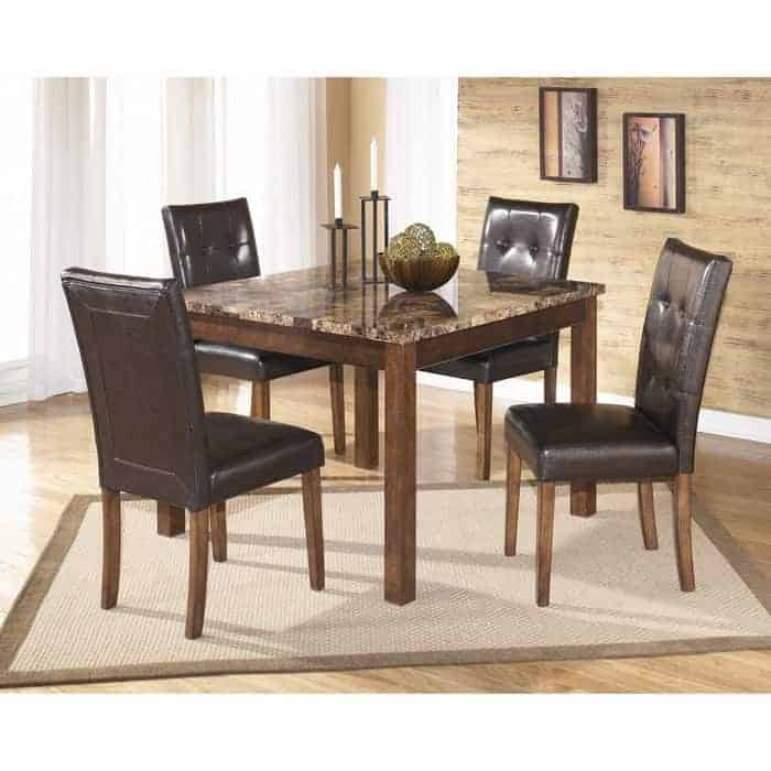 Signature Design by Ashley Theo Counter Height Dining Room Table and Bar Stools
