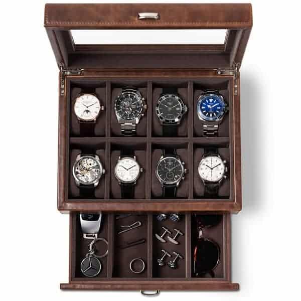 TAWBURY 8 Slot Watch Box with Drawer – Luxury Wrist Watch Display Case