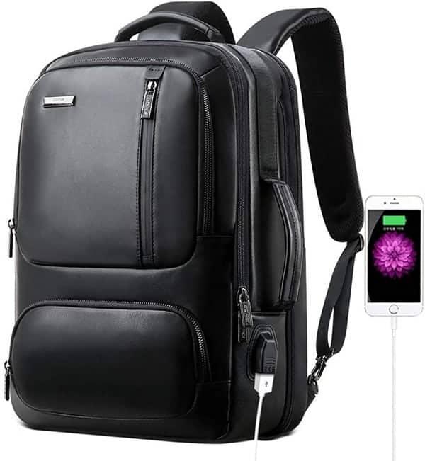 bopai-20l-leather-laptop-backpack-for-men-intelligent-increase-backpack